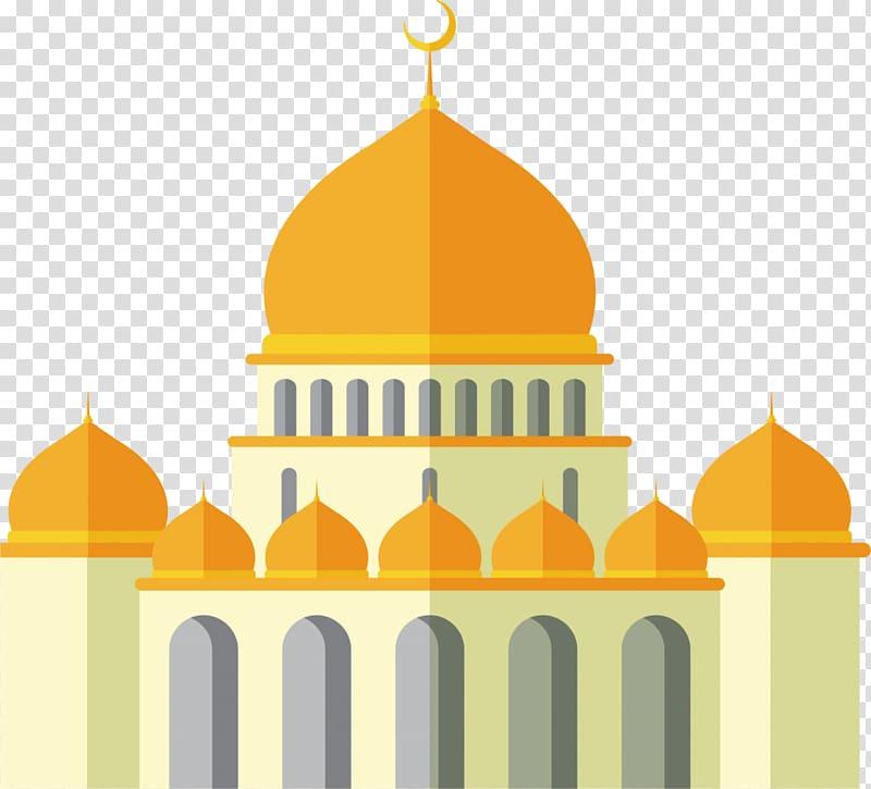 banner download Orange dome building illustration. Mosque clipart transparent background.