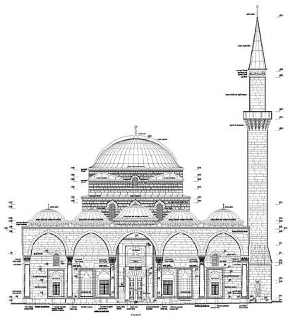 svg stock Plan drawing of Murat Pasha mosque