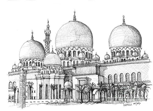 banner library library zayed mosque drawing