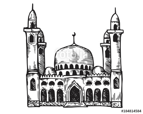 svg black and white stock Vintage Hand Drawing Islamic Mosque Sketch Building