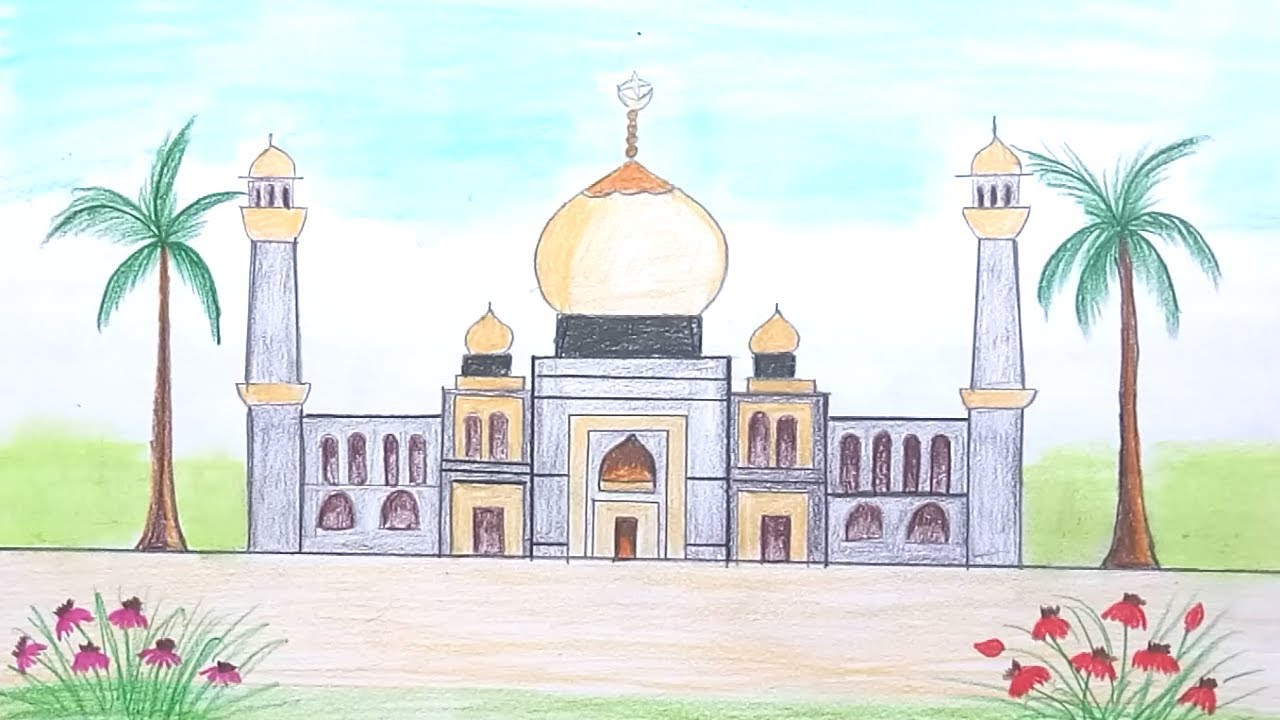 png freeuse stock How to draw scenery of Mosque step by step
