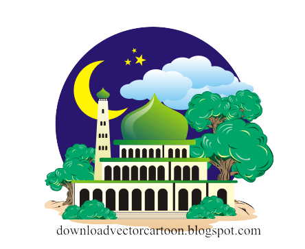 vector black and white download Mosque vector cartoon. Download for kids free
