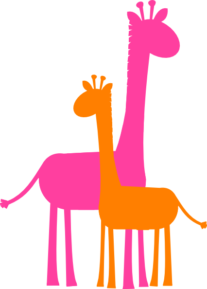 clip library Mother and giraffe sillouette. Vector baby mum