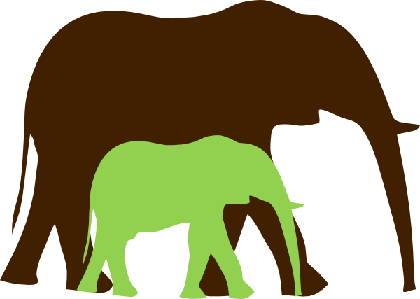 transparent Brown And Green Mom And Baby Elephant Clip Art at Clker