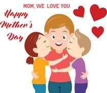 vector royalty free library Mothers clipart celebration. Daughter son kisses mom.