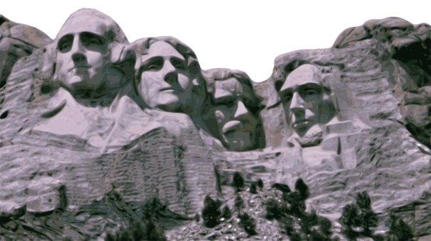 banner Mount rushmore clipart caricature. President of the united.