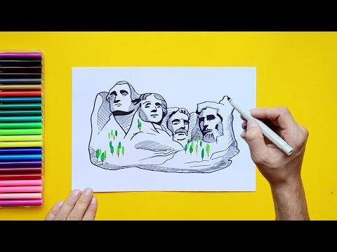 picture freeuse download Mount rushmore clipart caricature. How to draw south.