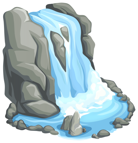 vector transparent download Mountains clipart waterfall. Png clip art patterns.