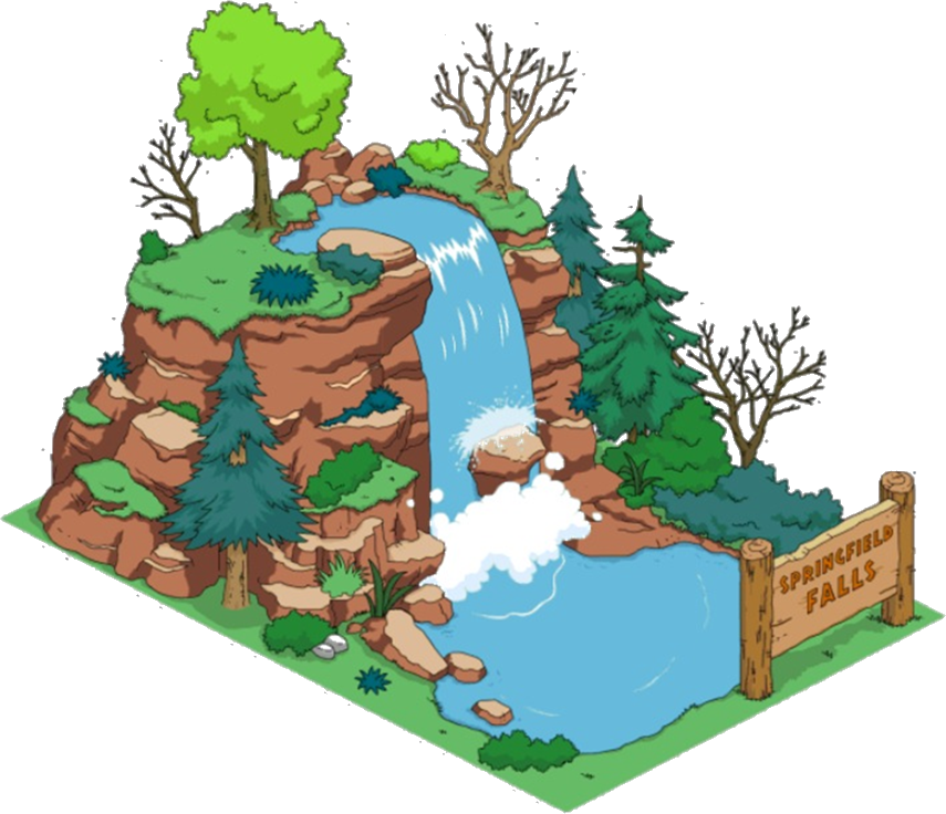 jpg free stock Springfield falls the simpsons. Mountains clipart waterfall.