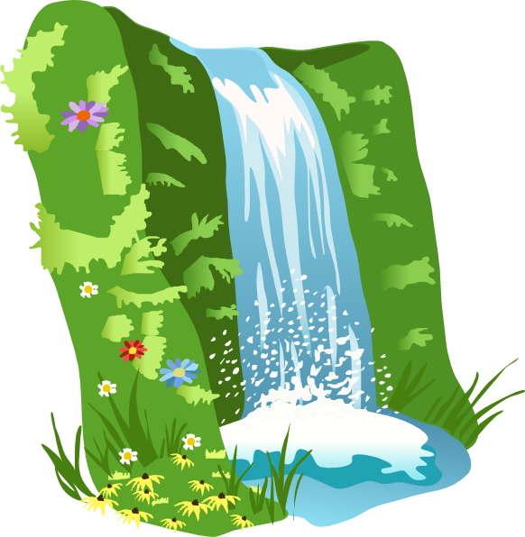 clip art black and white library Animated Waterfall Clipart