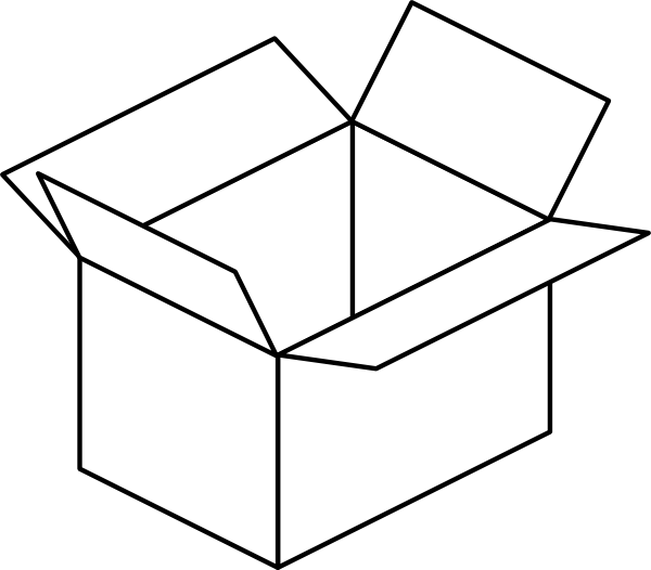 picture freeuse Carton open box clip. Moving boxes clipart black and white
