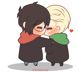 picture royalty free stock Chibi drarry gif by. Moving clipart harry potter.