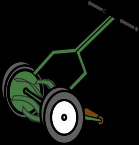 image stock Cartoon push reel lawn. Mowing clipart.