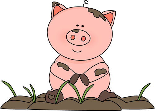 vector library Pig in . Mud clipart.