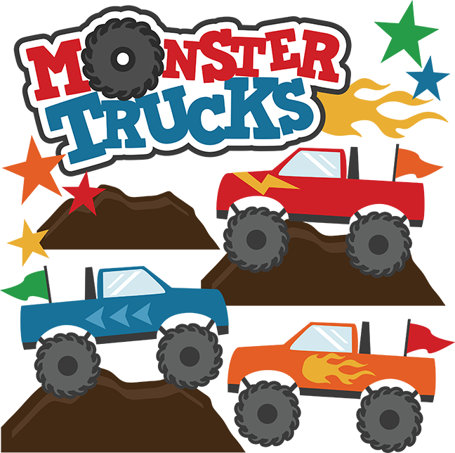 vector black and white Monster Trucks SVG Scrapbook Collections monster trucks cut files