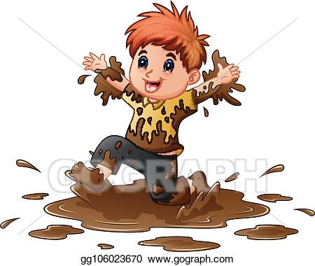 banner royalty free library Vector art little boy. Mud clipart.