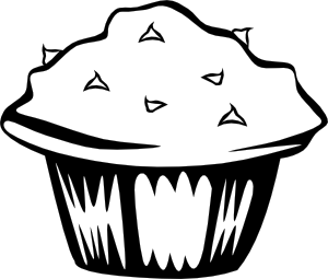 clipart transparent library Muffin clipart black and white. Double chocolate b w.