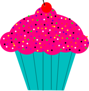 image transparent download Muffin clipart turquoise. Pink frosted cupcake clip.