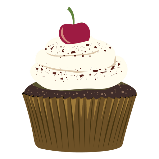 graphic freeuse stock Chocolate cupcake cherry illustration