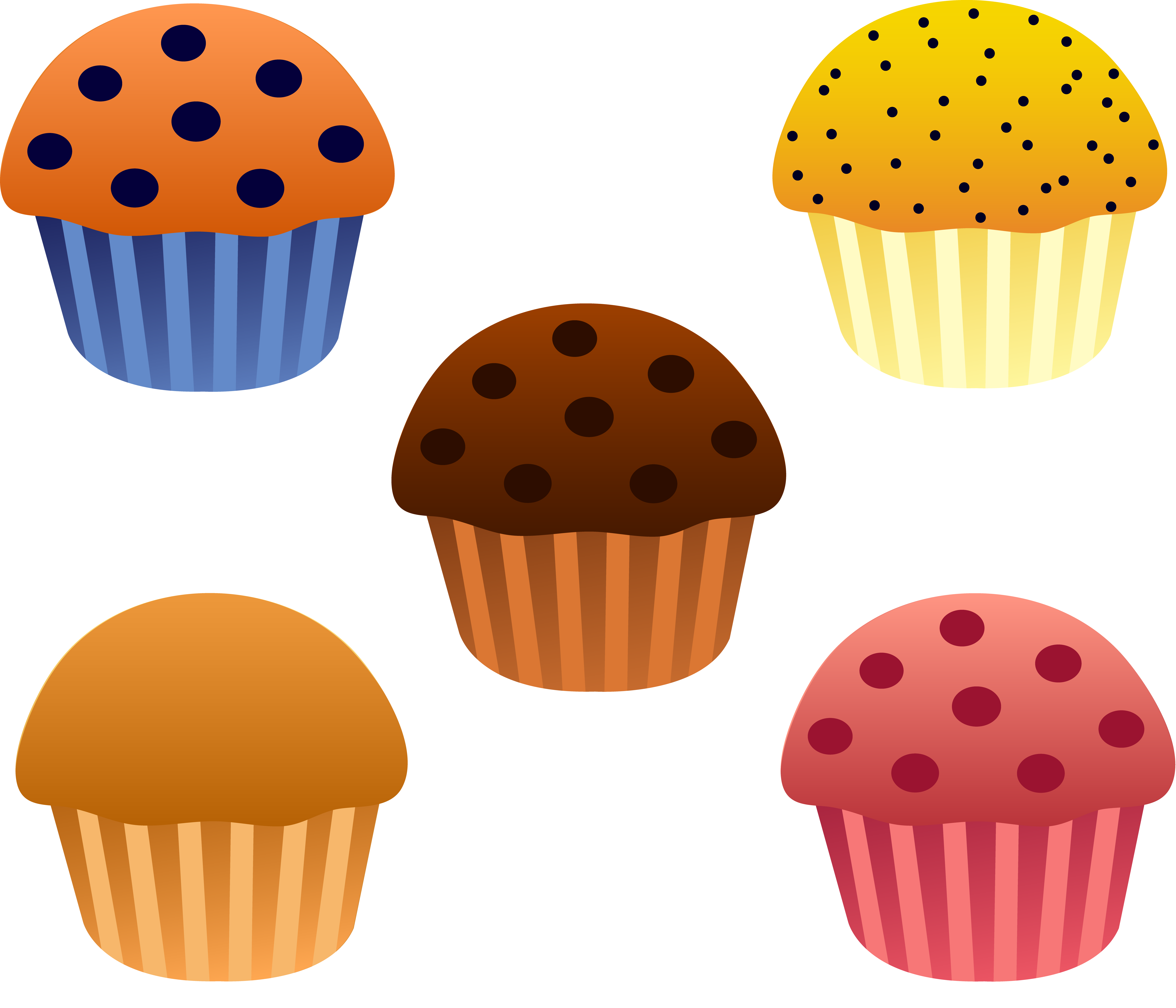 svg freeuse Set of five assorted. Muffins clipart