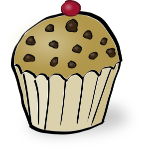 graphic black and white download Chocolate chips muffin small. Muffins clipart.