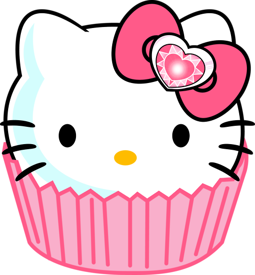 vector black and white stock Muffins clipart cat. Hello kitty cupcake all.