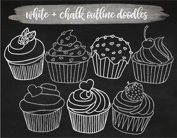 image library Hand drawn cupcake white. Muffins clipart chalkboard.
