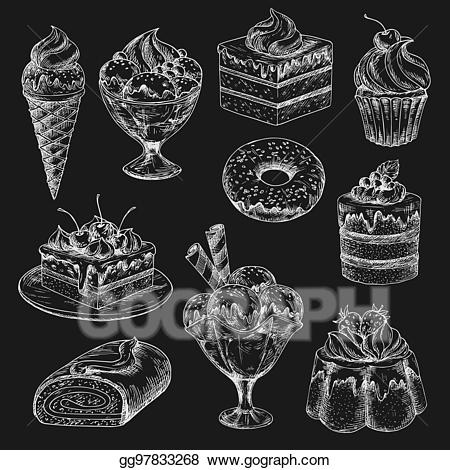 jpg black and white Muffins clipart chalkboard. Vector illustration cake and.