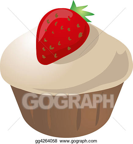 graphic transparent Muffins clipart strawberry cupcake. Stock illustration gg .