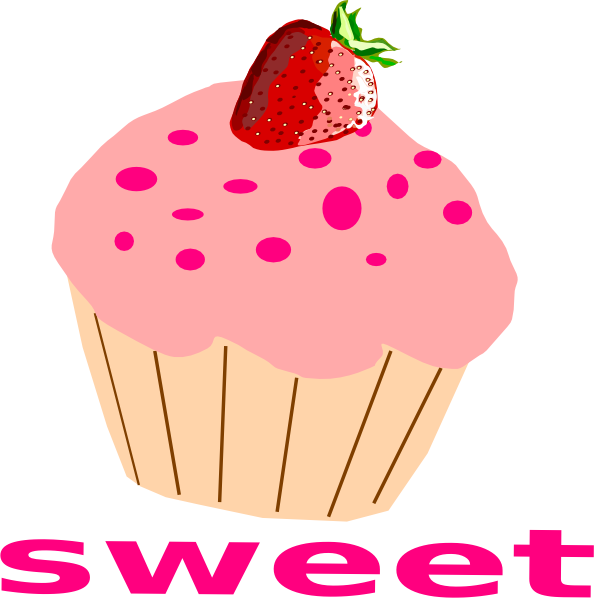 png black and white stock With pink frosting clip. Muffins clipart strawberry cupcake.