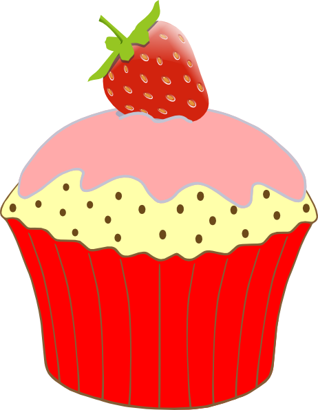 vector free stock Strawberry Cupcake Clip Art at Clker