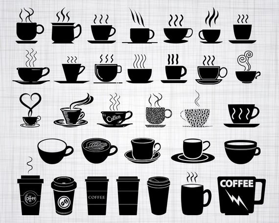 transparent Cup svg bundle clipart. Vector coffee silhouette