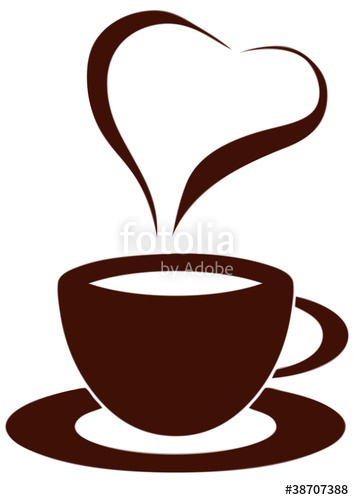 clipart free library Cup with heart stock. Vector coffee smoke