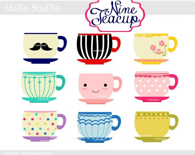 graphic black and white stock Cup tea cups digital. Cute coffee mug clipart