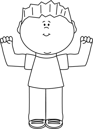royalty free library Black and White Boy Flexing Clip Art