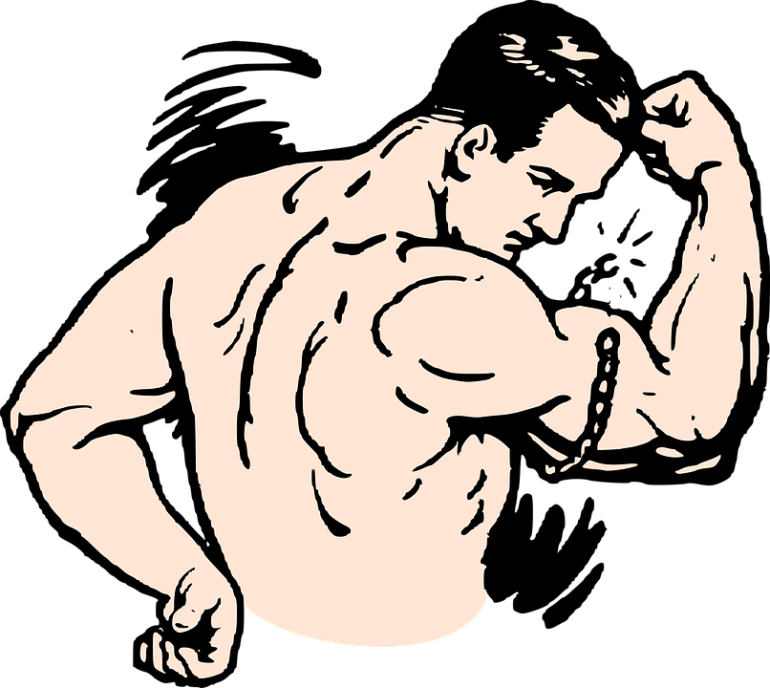 vector black and white library Muscular arm clipart. Famoso cartoon muscle embellecimiento