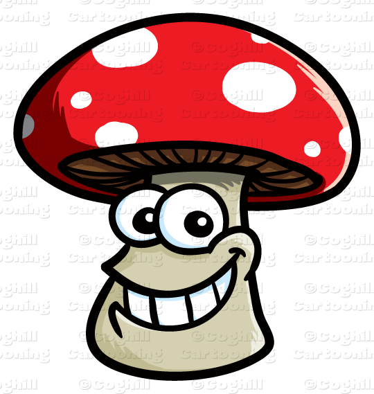 transparent library Cartoon smiling mushroom clip. Mushrooms clipart logo