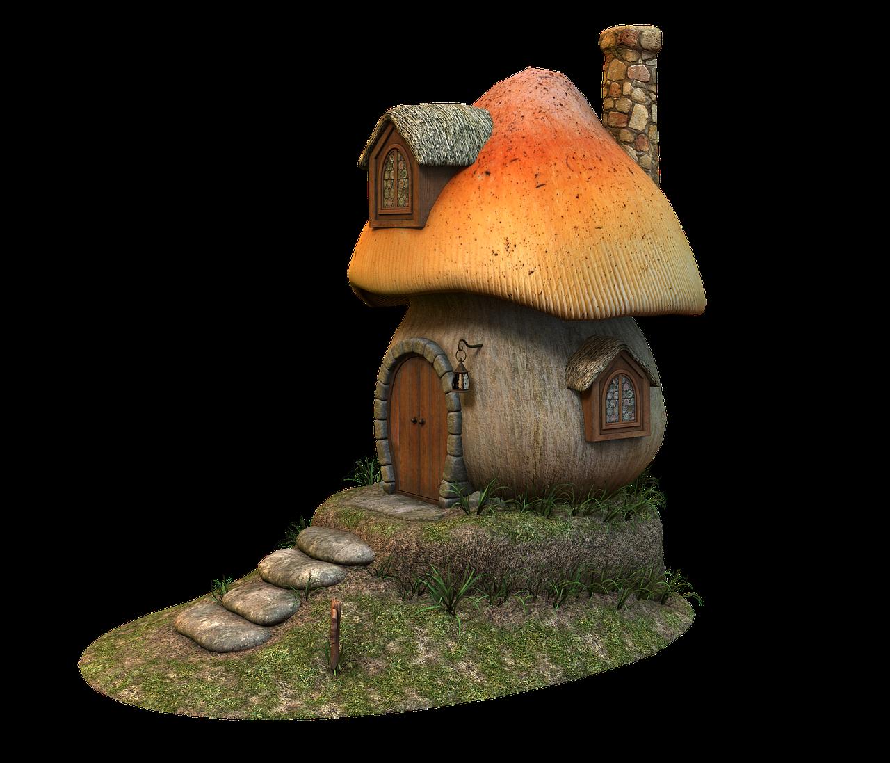 image royalty free stock Mushrooms clipart fairy cottage. Free image on pixabay.