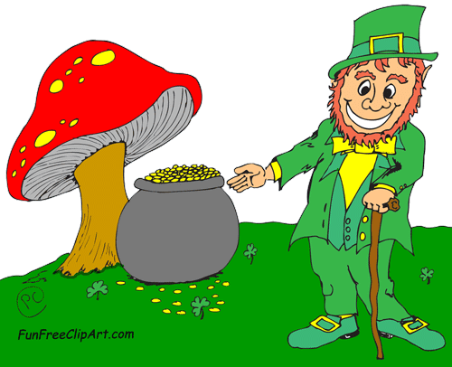picture transparent library With pot of gold. Mushrooms clipart leprechaun.