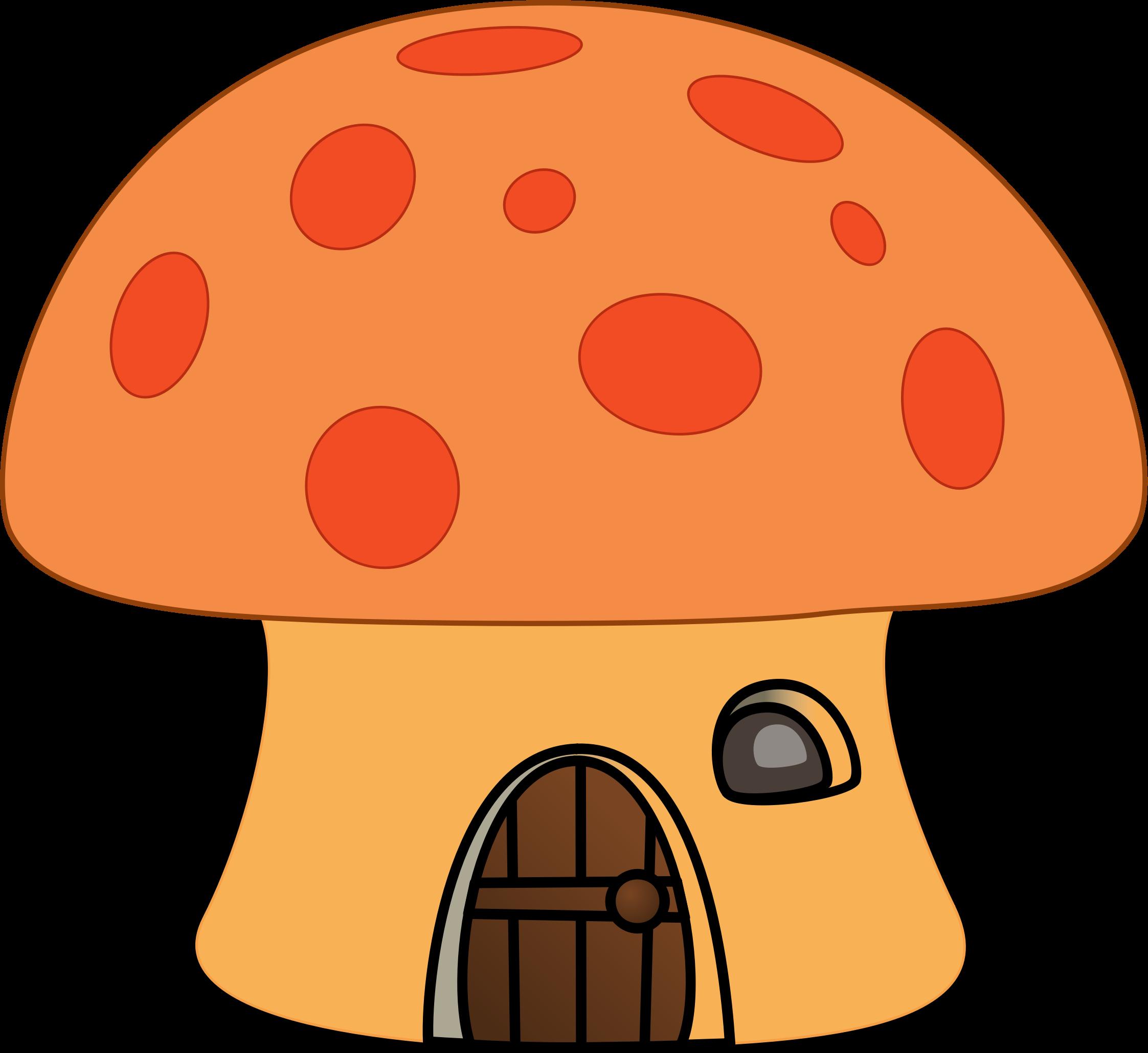 svg black and white Orange mushroom house big. Mushrooms clipart nice.