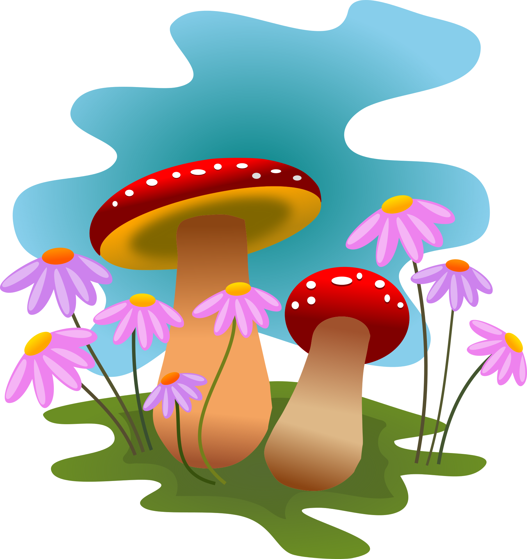 image free library Mushrooms clipart vintage. And flowers x clip.