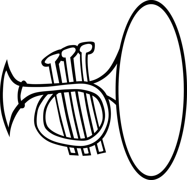 picture free library Musical instrument clipart black and white. Instruments brass trumpet free