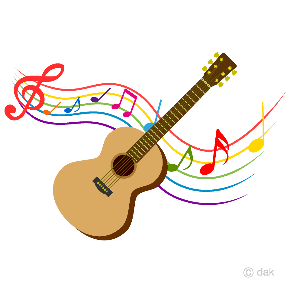 image Music clipart. Guitar and colorful note.