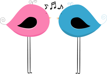 clip free library Music clipart bird. Two chirping birds clip.