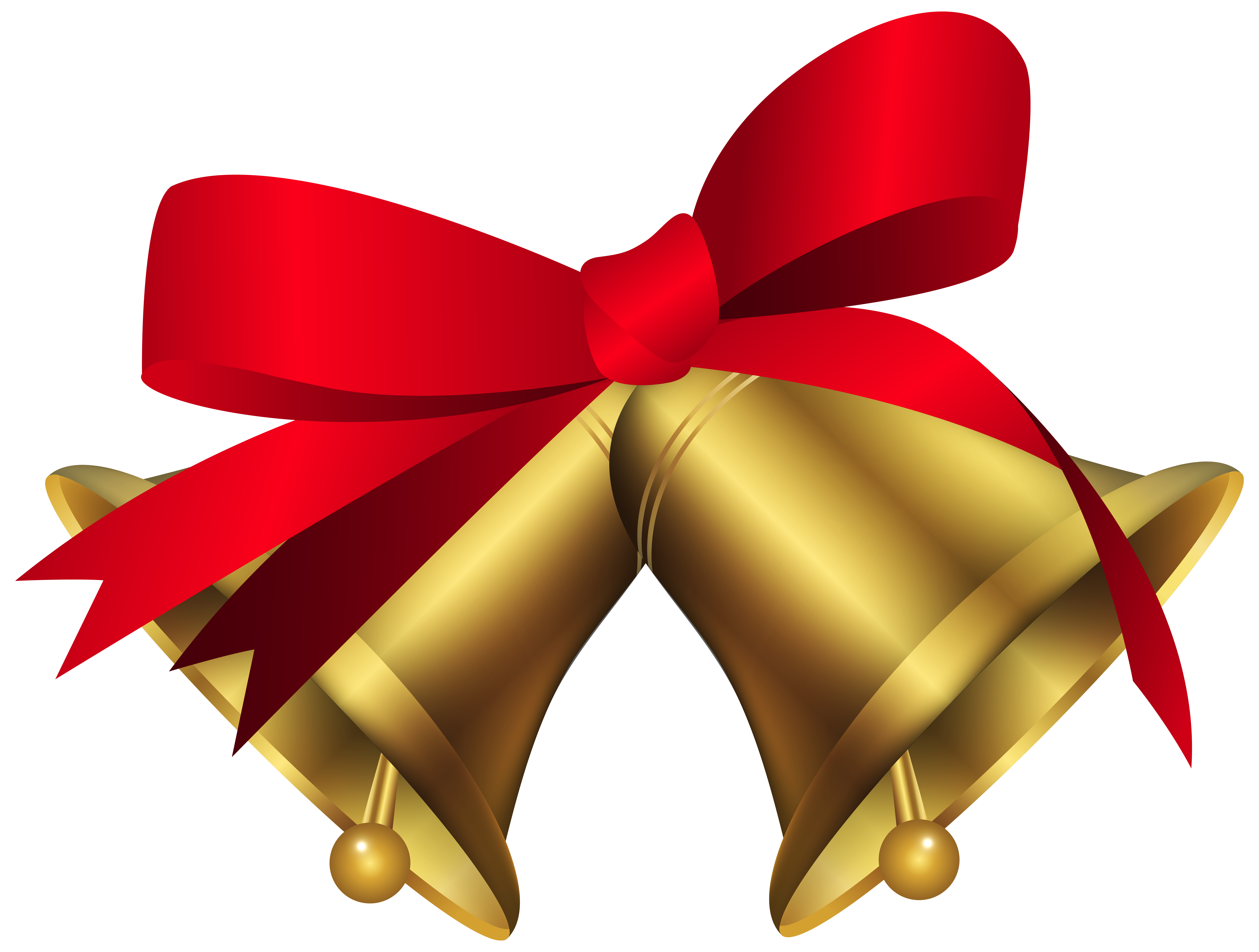 svg free Christmas Bells with Red Bow PNG Clip Art Image