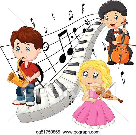 image Vector art little playing. Music kids clipart.