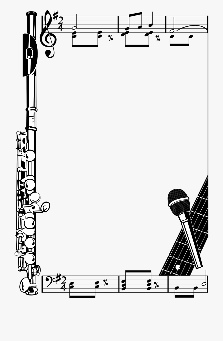 black and white library Music clipart borders. Border note landscape