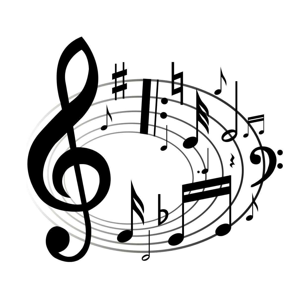 png free download Musical clipart. Music notes panda free.