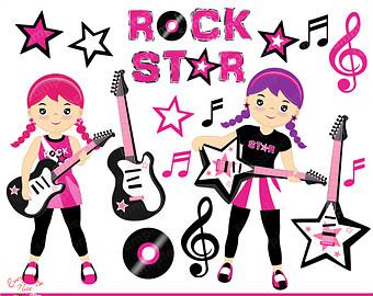 clip royalty free library Musician clipart rock star. Rockstar etsy .
