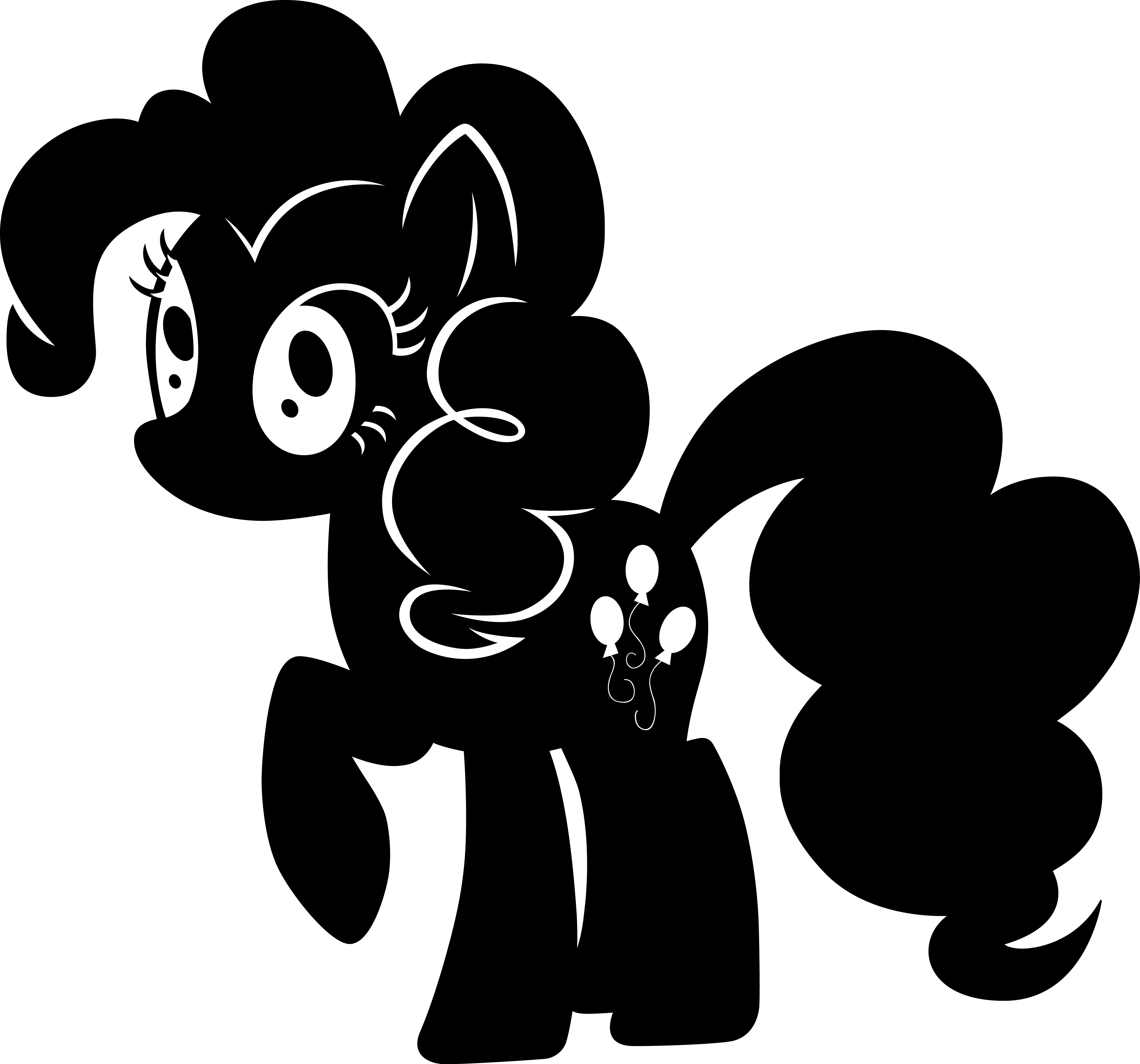 clip royalty free download Pinkie pie silhouette by. My little pony clipart black and white